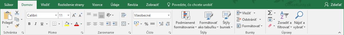 Panel nástrojov MS Excel
