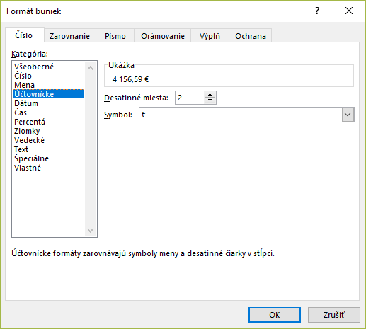 Okno Formát bunky záložka Číslo a kategória Účtovnícke v MS Excel