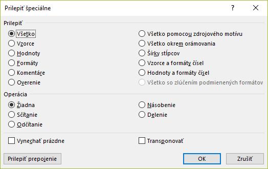 Okno Prilepiť špeciálne v MS Excel