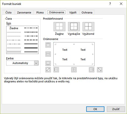 Okno Formát bunky a záložka Orámovanie v MS Excel