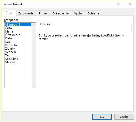 Ponuka formát čísiel v MS Excel