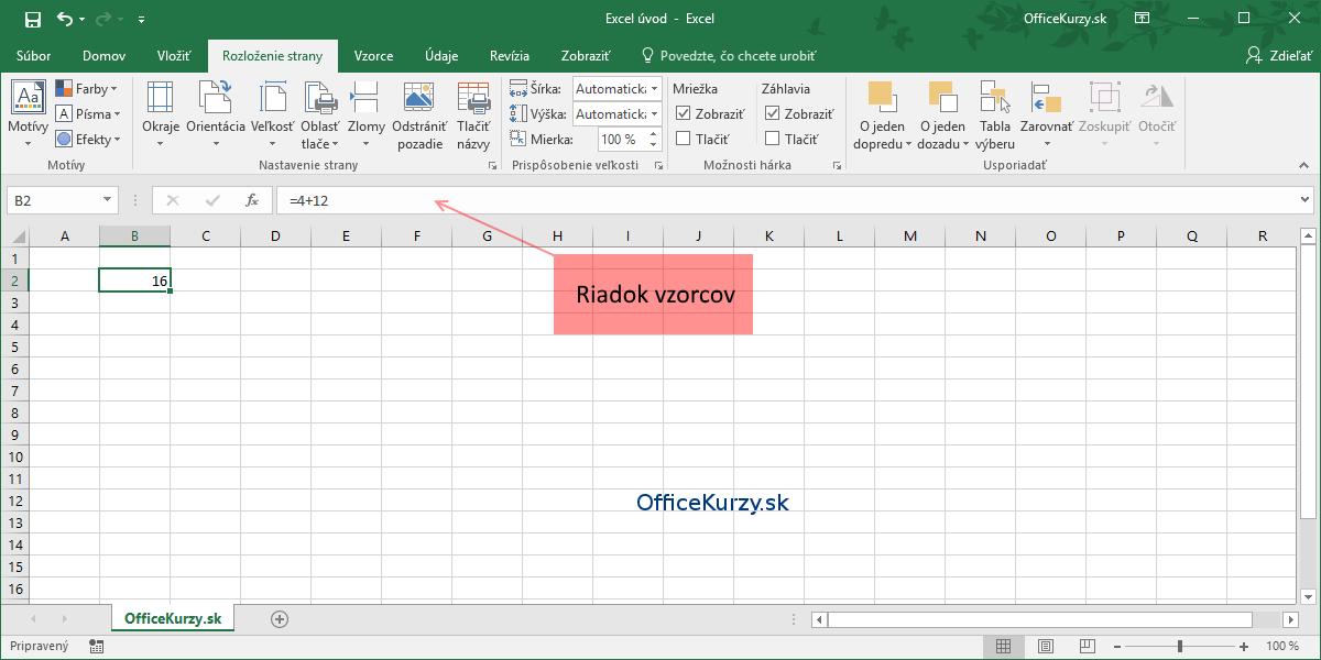 Vložený základný vzorec a označený riadok vzorcov v MS Excel