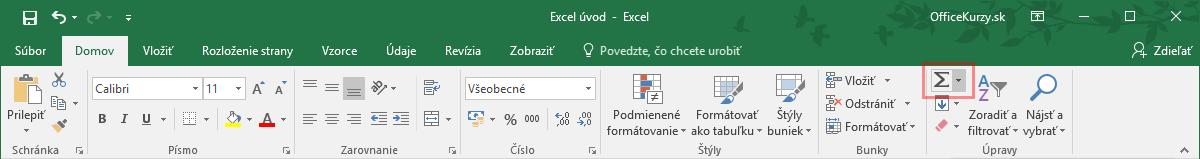 Zvýraznený príkaz na vloženie základnej funkcie v MS Excel