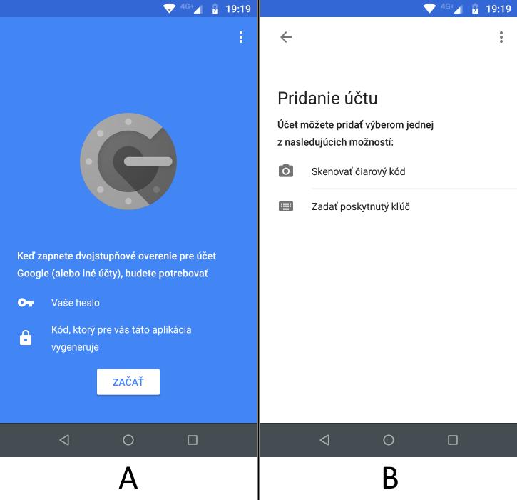 Úvodná obrazovka Google Authenticator a výzva na pridanie účtov.